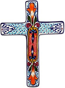 NOVICA Orange and Blue Hand Painted Floral Ceramic Wall Mounted Cross, Orange Lily'