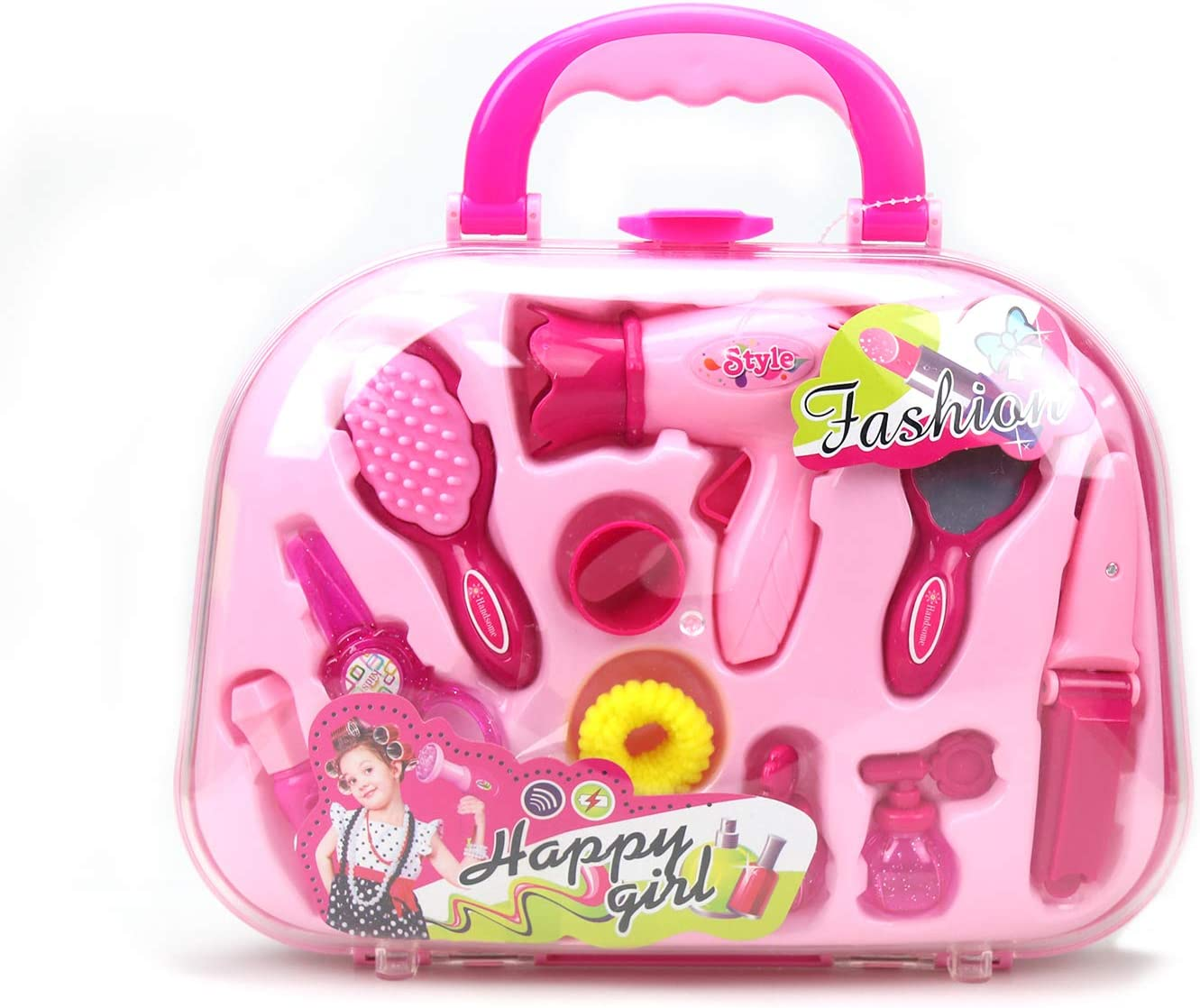 Girls Pretend Play Toys Set with Hairdryer Mirror and Hair Styling Accessories with a Beauty Tote Case 12 Pcs