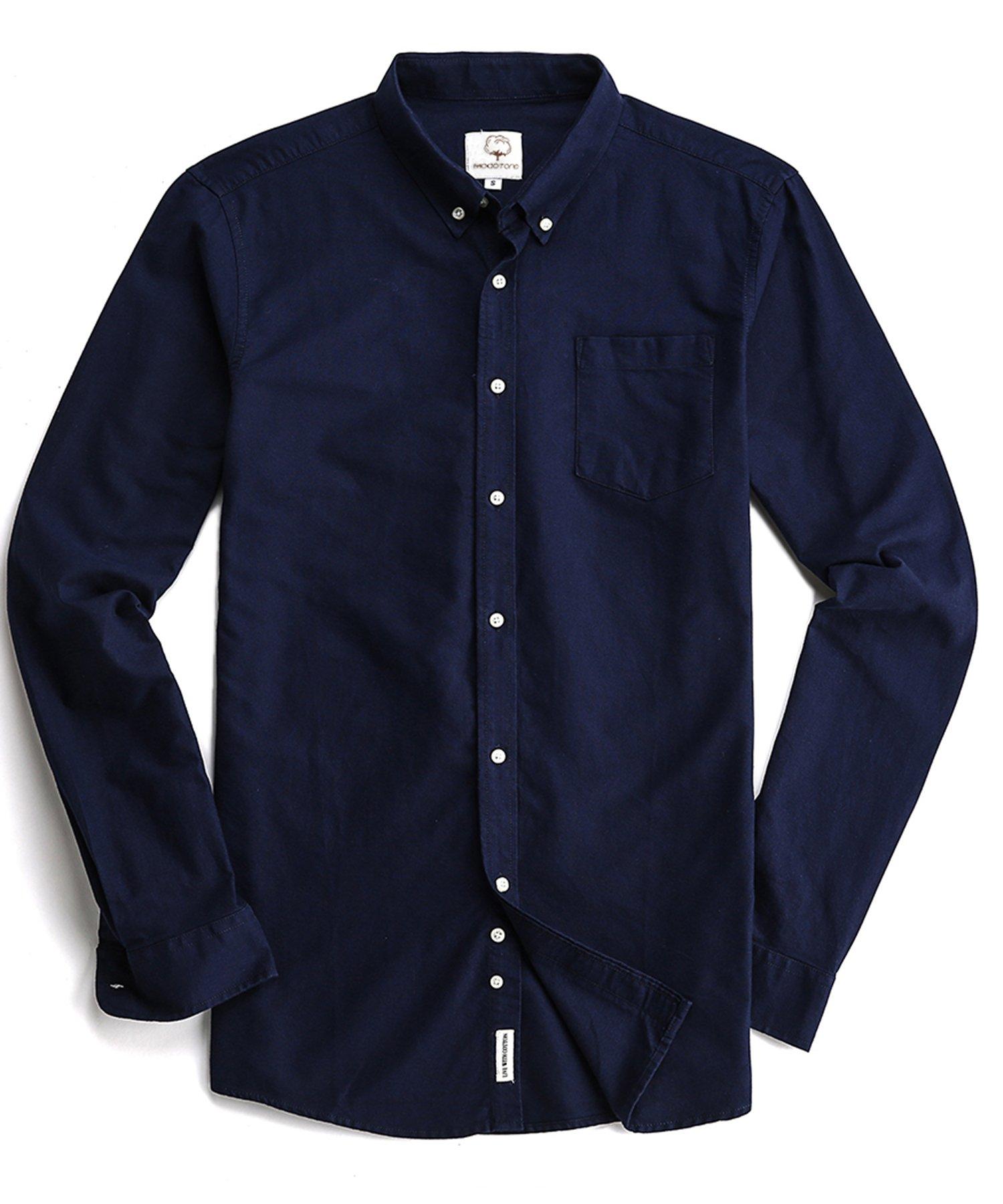 Men's Oxford Long Sleeve Button Down Dress Shirt Pocket,Navy Blue,XX-Large