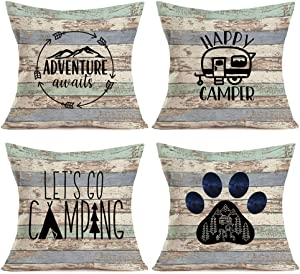 Asamour Camping Vintage Wood Home Decor Pillowcase Happy Campers Words with RV Travel Car Tent Mountain Tree Decorative Throw Pillow Case Cushion Cover 18''x18'' Set of 4