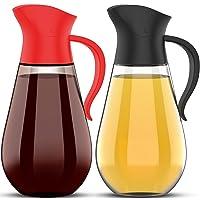 Brieftons Oil & Vinegar Dispensers: 2 x 18.6 Oz Leakproof Glass Dispenser Bottles...
