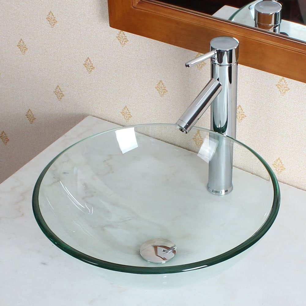 Elite Bathroom Clear Glass Vessel Sink Chrome Single Lever Faucet Combo Chrome Pop Up Drain Mounting Ring