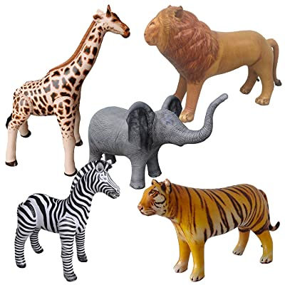 Airniture Jet Creations Safari Inflatable Plush Stuffed Animal 5 Pack Giraffe Zebra Elephant Lion Tiger for Pool, Party Decoration, Size up to 40 inch, AIR-GZELT5, 36, Multi: Toys & Games