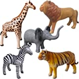 Airniture Jet Creations Safari Inflatable Plush Stuffed Animal 5 Pack Giraffe Zebra Elephant Lion Tiger for Pool, Party…