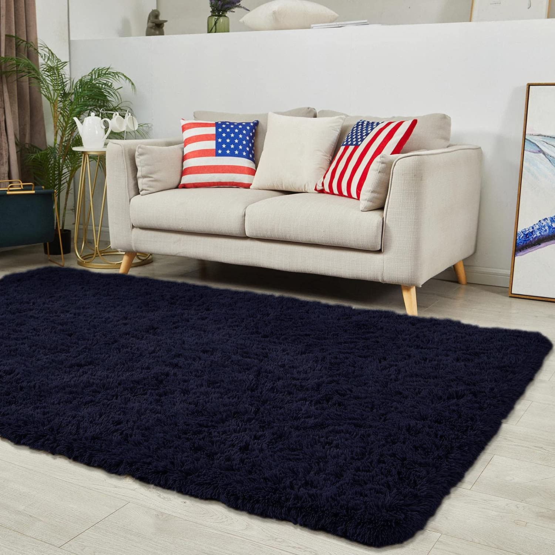 Oleberg Modern Soft Plush Area Rug for Living Room, 3x5 Navy Fluffy Shag Rug Bedroom Shaggy Furry Accent Fuzzy Cute Carpets for Kids Girl Boys Nursery Dorm Apartment Indoor Home Decor
