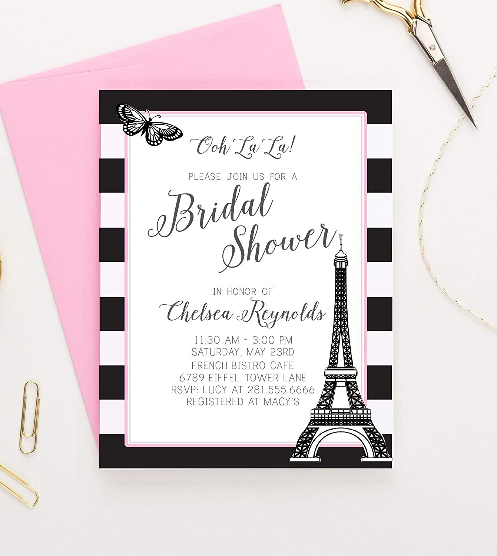 703315bfa052 Amazon.com  Paris Themed Bridal Shower Invitations