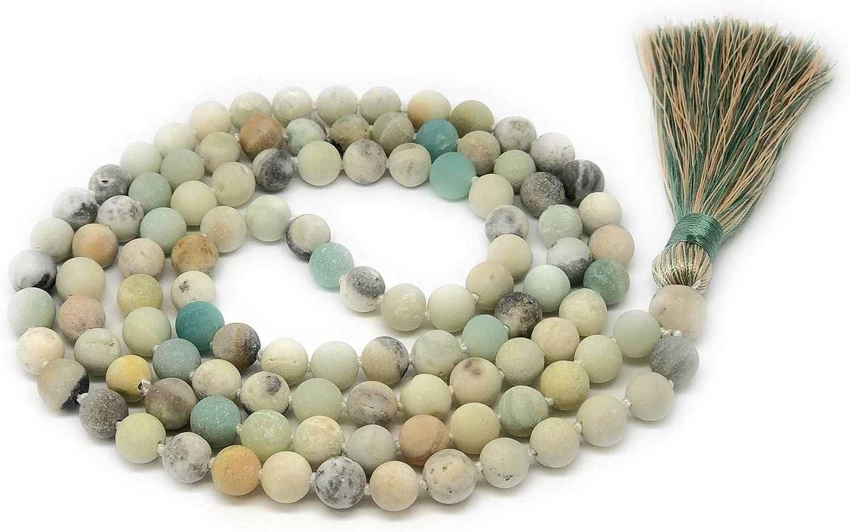 Givereldi Piedra Preciosa collar de cuentas de mala pulsera 108 cuentas de 8 mm de ancho oraci/ón con nudos entre m/ás 1 gran cuenta de gur/ú meditaci/ón o collar de borla