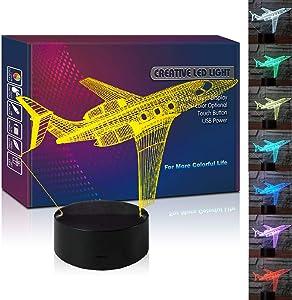 HIPIYA Airplane LED 3D Illusion Lamp USB Aircraft Night Light 7 Color Birthday Gift for Boy Girl Boyfriend Men Kid Room Decoration Bedroom Decor (Plane)