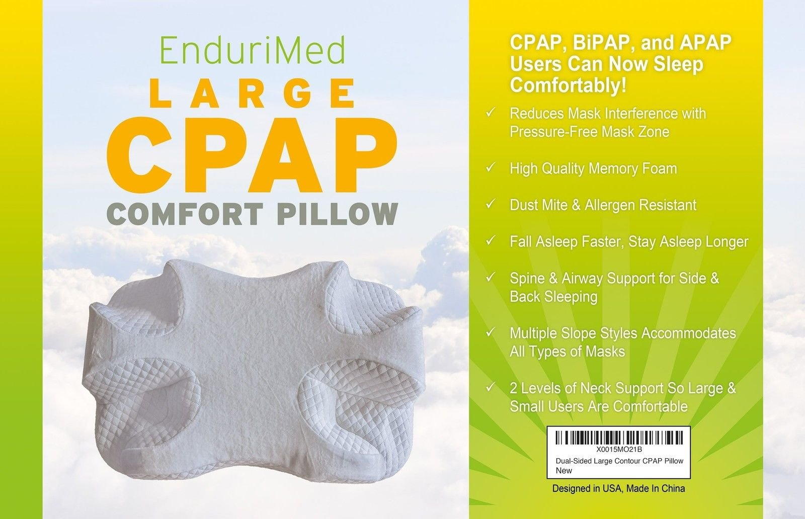 EnduriMed CPAP Pillow - Memory Foam Contour Design Reduces Face Mask Pressure & Air Leaks - 2 Head & Neck Rests For Max Comfort - CPAP, BiPAP & APAP User Supplies - For Stomach, Back, Side Sleepers
