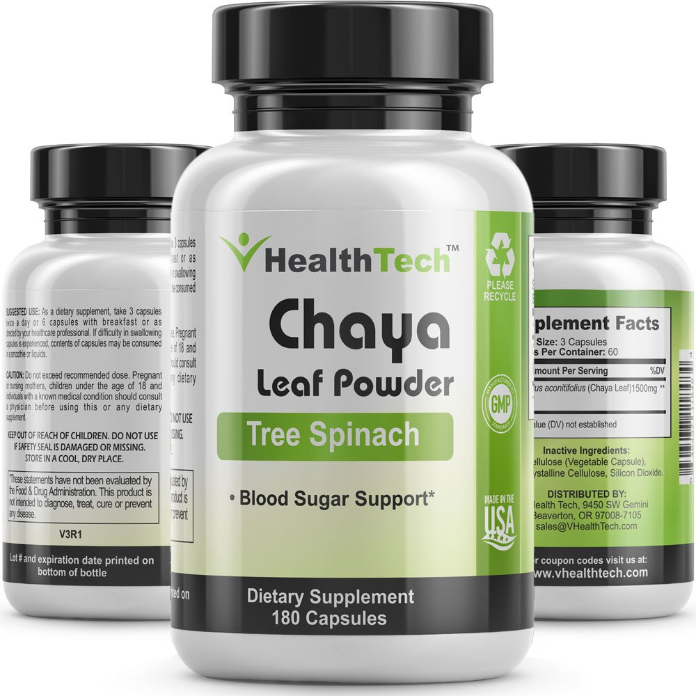 Chaya (Tree Spinach) - Leaf Powder - Blood Sugar Support - Blood Circulation - 180 Veggie Capsules - V-HealthTech by V-HealthTech