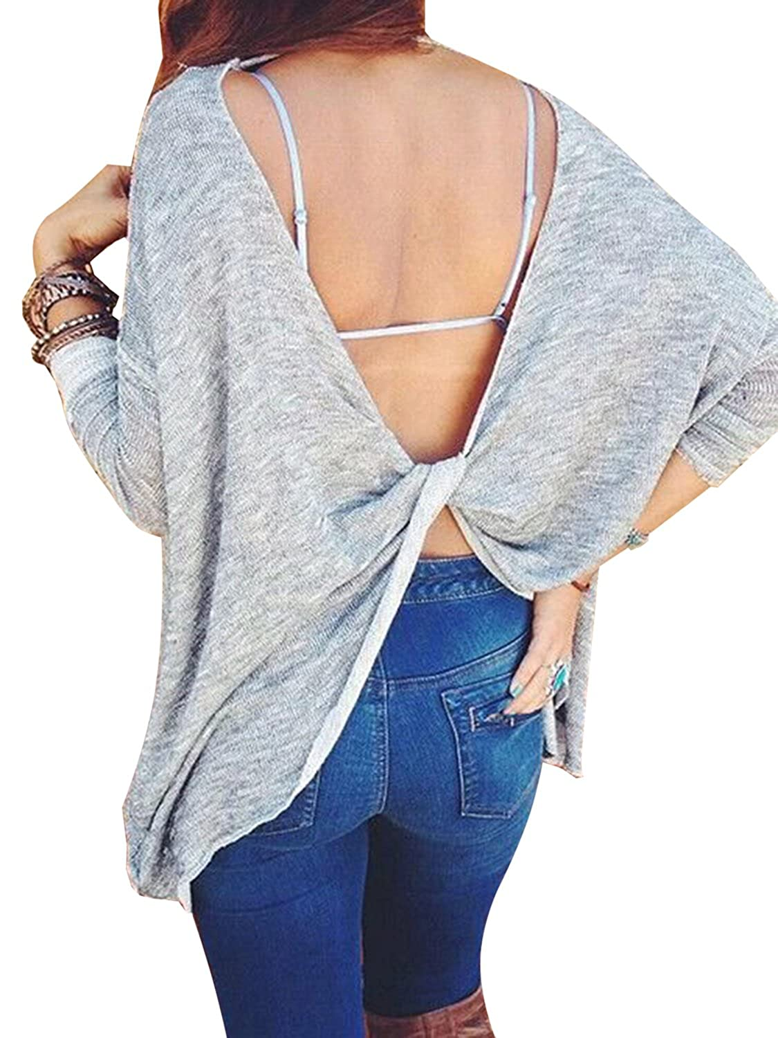 Choies Women Gray Knot Open Back Casual Long Sleeve Knit Loose Pullover Top Blouse