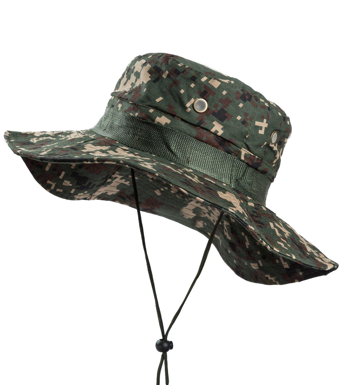 Amazon.com   OTIOTI Outdoor Boonie Hat Sun Safari Cap Summer UV Protection  Wide Brim Camo Fishing Hunting Hat   Sports   Outdoors f8ef6c13df9