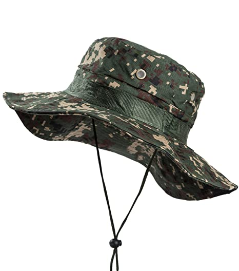 Image Unavailable. Image not available for. Color  OTIOTI Outdoor Boonie  Hat Sun Safari Cap Summer UV Protection Wide Brim Camo Fishing Hunting Hat 33c70bfa89d5