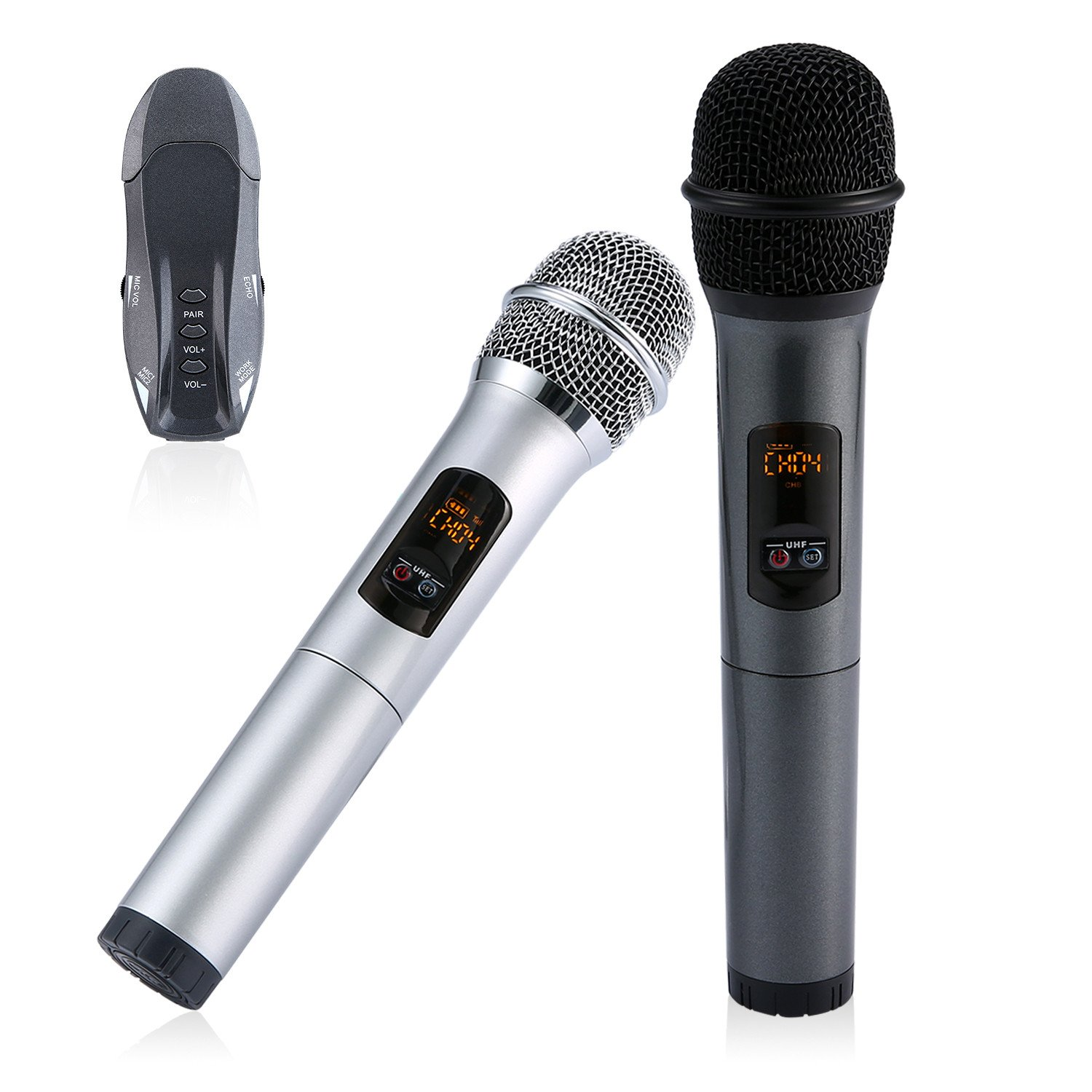 Wireless Handheld Microphone, Umiwe Portable UHF Karaoke Microphone System Moving Coil Mic Machine for Home KTV, Outdoor Wedding, Conference B071471V4N