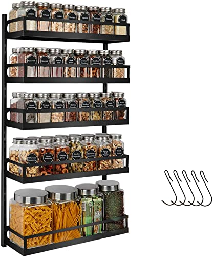 X-cosrack Wall Mount Spice Rack Organizer 5 Tier Height-Adjustable Hanging Spice Shelf Storage for Kitchen Pantry Cabinet Door, Dual-Use Seasoning Holder Rack with Hooks, Black-Patent Pending