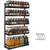X-cosrack Wall Mount Spice Rack Organizer 5 Tier Height-Adjustable Hanging Spice Shelf Storage for Kitchen Pantry Cabinet Doo
