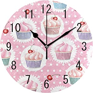 ALAZA Home Decor Colorful Cupcake Polka Dot Round Acrylic 9.5 Inch Wall Clock Non Ticking Silent Clock Art for Living Room Kitchen Bedroom
