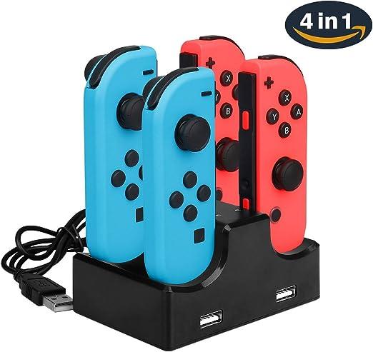 Nintendo Switch Base de Carga Joy-Con 4 en 1 Soporte de cargador y Soporte de carga con Indicador LED Individual Cable USB: Amazon.es: Videojuegos