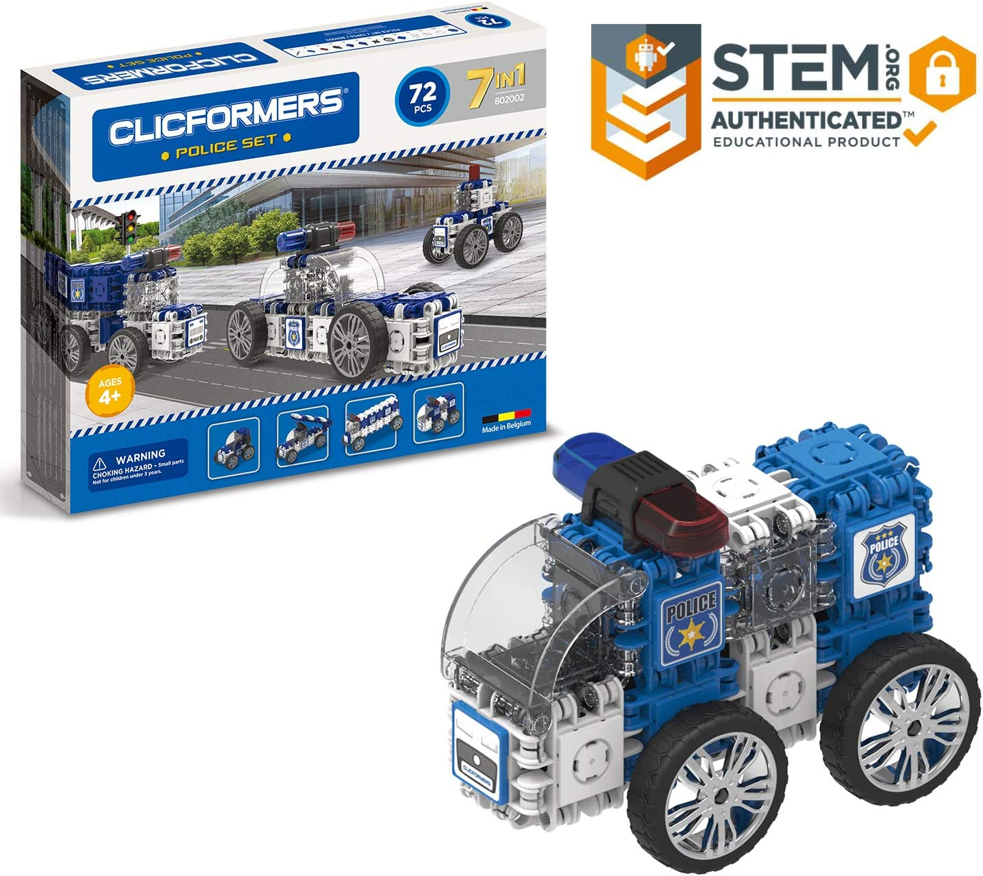 Clicformers Police Set 7 in 1 Vehicles 72 PCS Building and Construction Toy