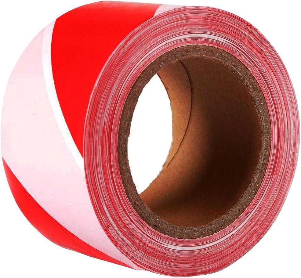 White Barricade Tape HAZARDOUS MATERIAL DO NOT ENTER Large Red Lettering onWhite