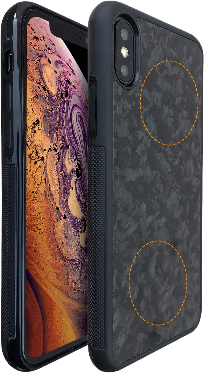 Molzar Grip Series iPhone Xs/X Case with TPU and Real Forged Carbon Fiber, Built-in Metal Plates for Magnetic Phone Holder, Support Wireless Charging, Compatible with Apple iPhone Xs/X, Black/Black