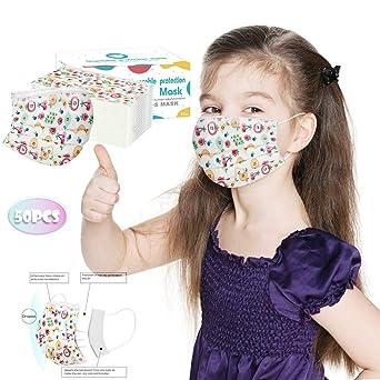 Imagen deMrTom Niños 𝐌𝐚𝐬𝐜𝐚𝐫𝐢𝐥𝐥𝐚𝐬 Desechables de Filtro de 3 Capas con Pendientes Elásticos, 50 unidades, Dibujos Animados patrón (Fruit)
