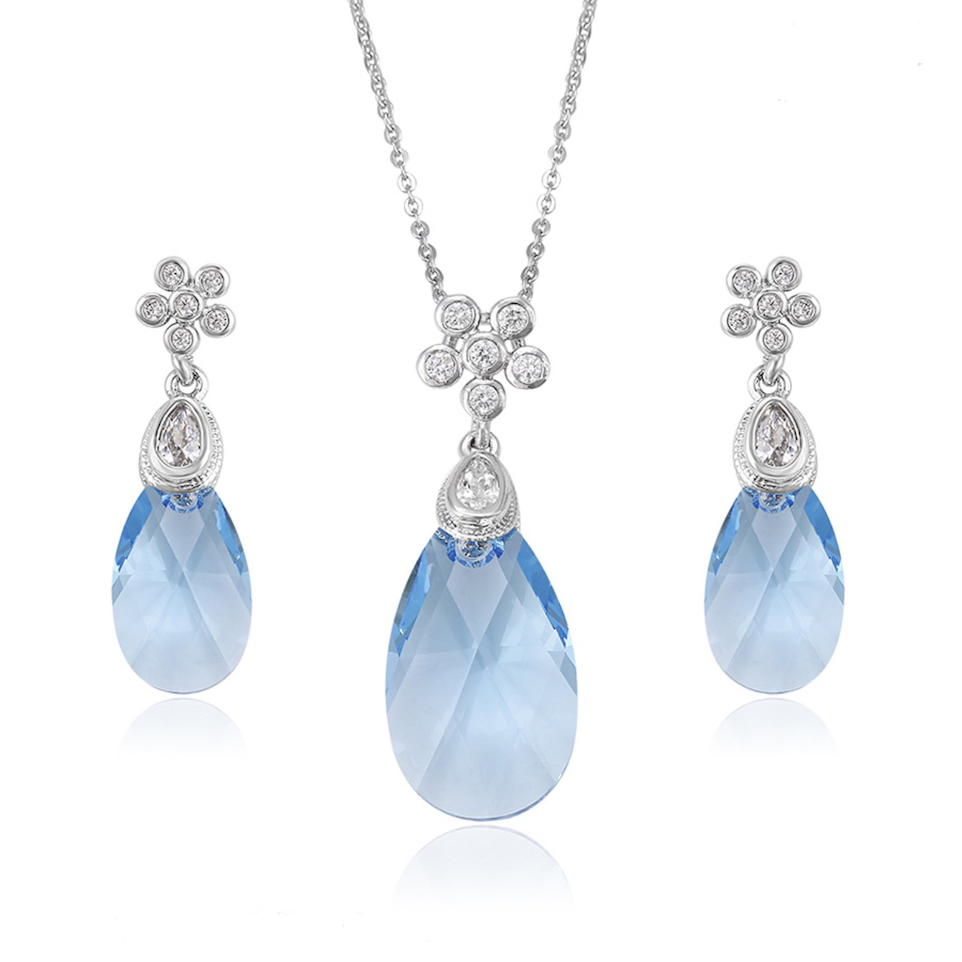 Barbara Giles Crystals from Swarovski 'Raindrop-falling-off-A-Flower' Jewellery Set - Office Jewellery or Party Jewellery - Blue - Excellent as a Gift Idea