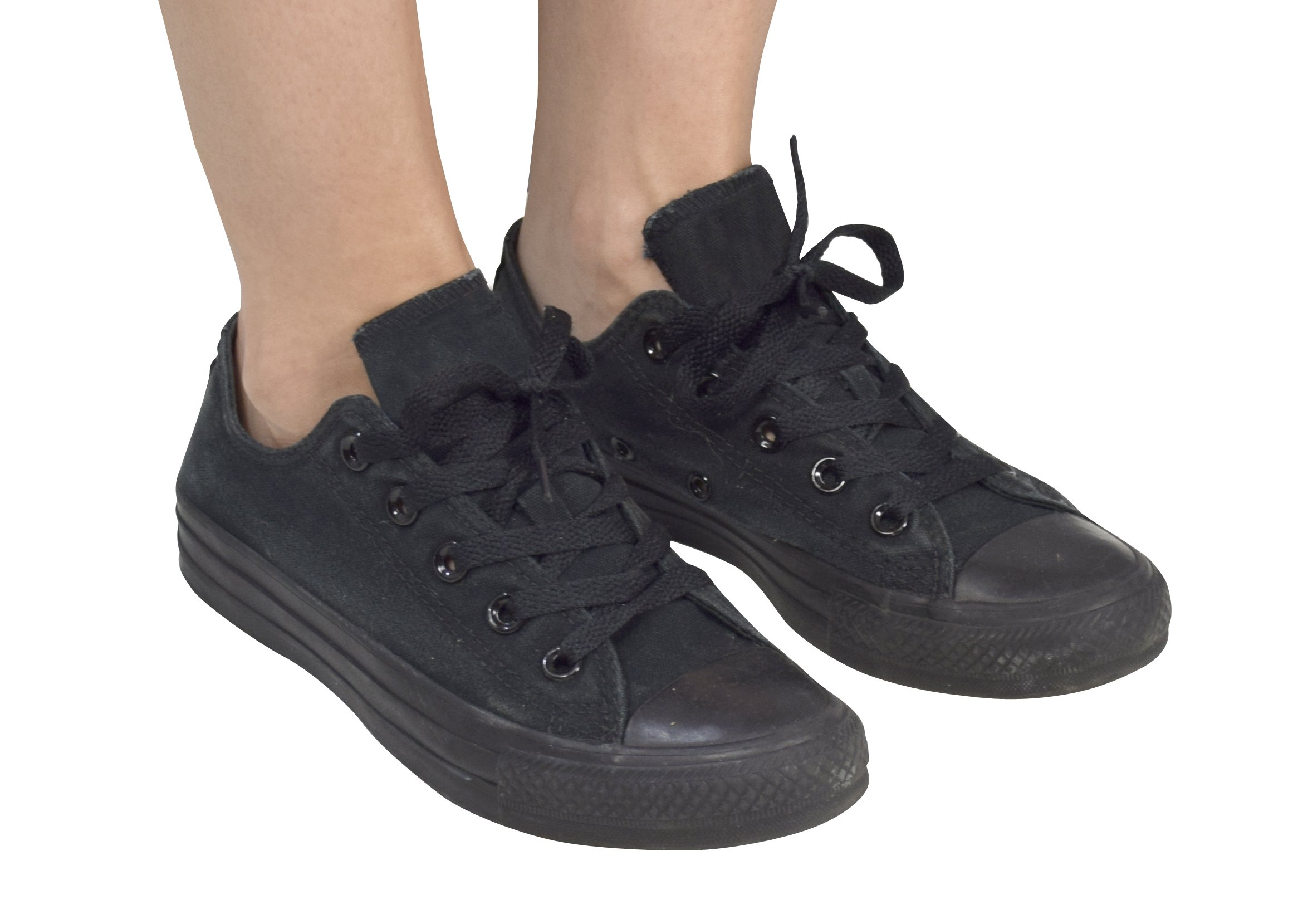 Peach Couture Casual Sneakers Low Top Tennis Shoes (10, Solid Black)