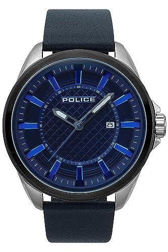 Police Checkmate Reloj para Hombre Analógico de Cuarzo con Brazalete de Piel de Vaca R1451297001: Amazon.es: Relojes