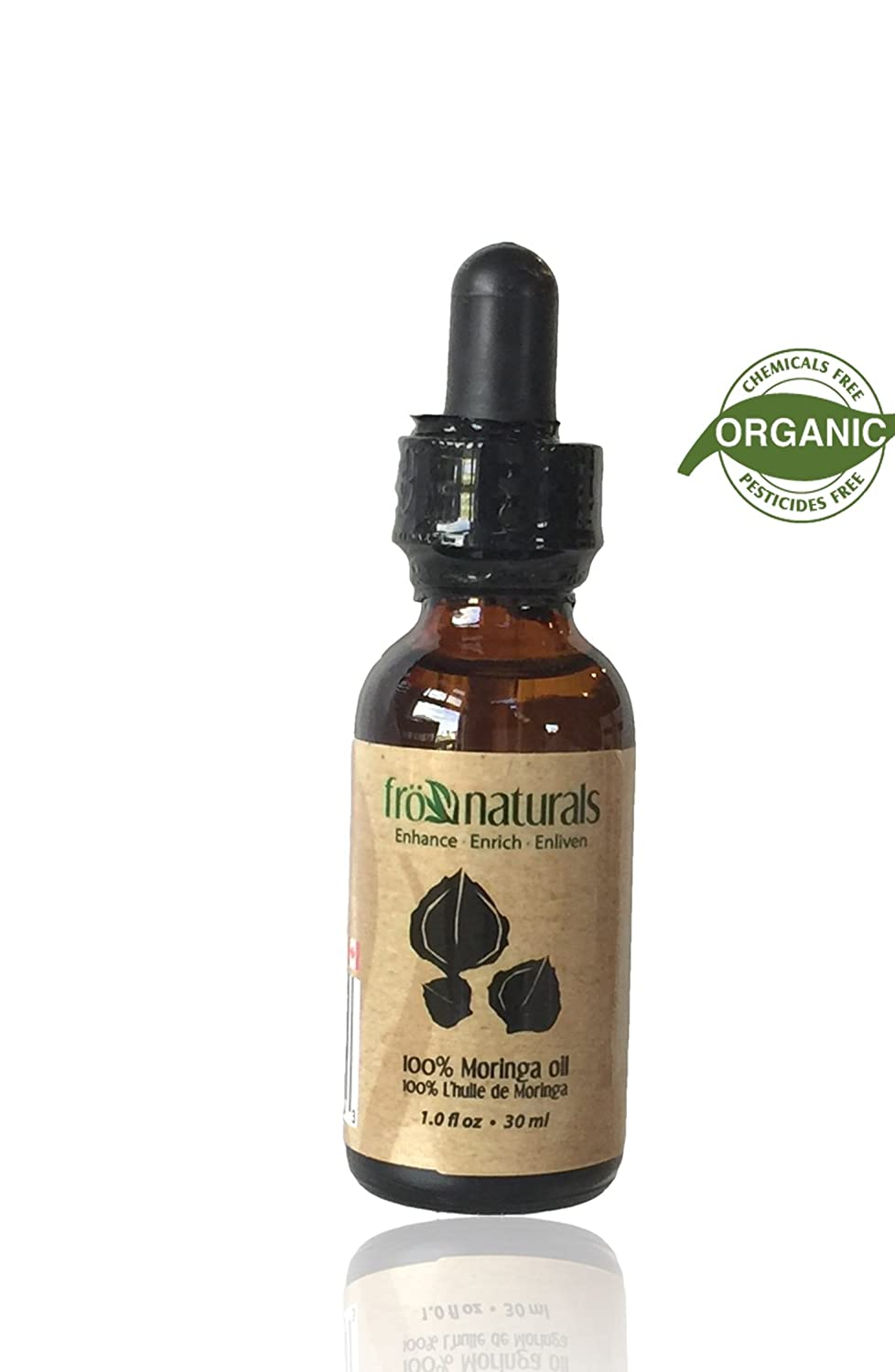 Organic Moringa seed Oil. Cold Pressed in Amber Glass bottle With Dropper- Frönaturals Canada (1.0oz/30ml)