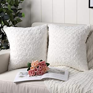 Mandioo Pack of 2 Pure White Faux Fur 3D Flower Pattern Fuzzy Cozy Soft Decorative Throw Pillow Covers Set Cushion Cases Pillowcases for Couch Sofa Bedroom Car 20x20 Inches