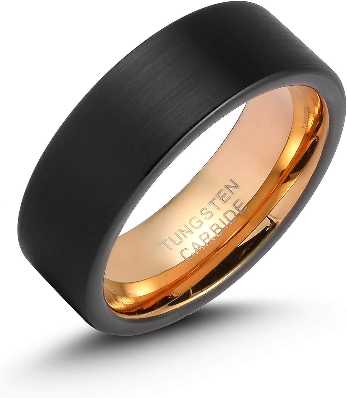 Brilliant Bijou Titanium Polished w//Black Carbon Fiber Inlay Flat 8mm Band