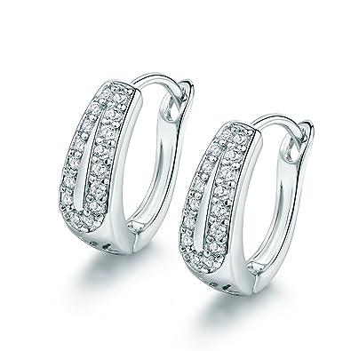 918edcbc07c38 Amazon.com: 18K White Gold Plated Fashion Earrings Womens White ...