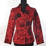 Shanghai Tone® Veste Femmes Orientale Asiatique Traditionnelle Chinoise Veston Manteau Costume Tang Broderie Elégant Floral Rouge Tailles Disponibles: 0, 2, 4, 6, 8, 10, 12