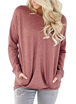 66bd8568812390 Image Unavailable. Image not available for. Color: ROSKIKI Women's Casual  Round Neck Pockets Long Sleeve Pullover Sweatshirt T Shirt Tops Tunics ...