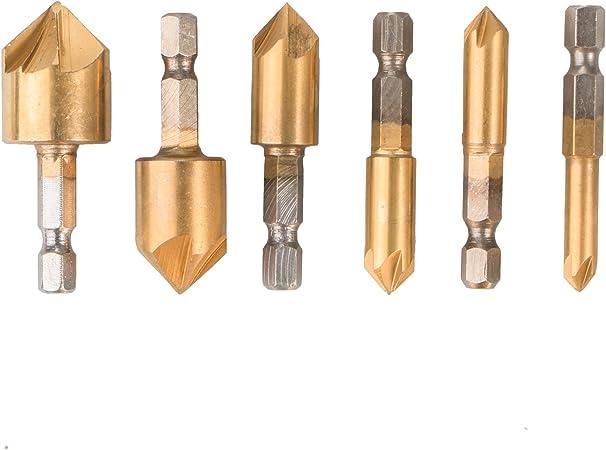 90°1//4/'/' Hex Shank HCS Countersink Drill Bit Set Chamfer Cutter Wood 8C