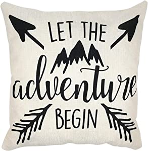 Arundeal 18 x 18 Inch Let The Adventure Begin Arrow and Mountain Decorative Cotton Linen Square Throw Pillow Cover