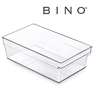 BINO Clear Plastic Storage Bin with Built-In Pull Out Handle - (Standard, Large) - Storage Bins for Home, Kitchen, and Bath - Refrigerator, Freezer, Cabinet, Closet, Pantry Organization and Storage
