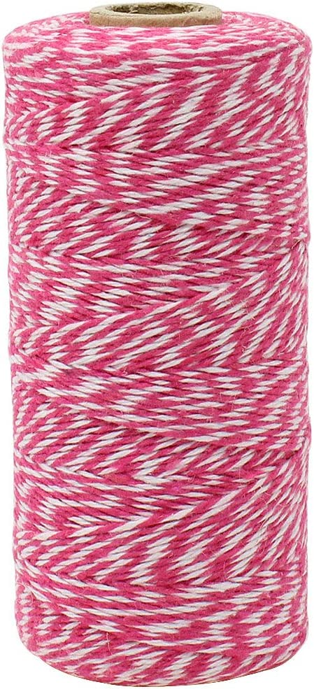 Decorative Bakers Twine for DIY Crafts and Gift Wrapping Just Artifacts ECO Bakers Twine 240-Yards 4Ply Striped Cherry Red