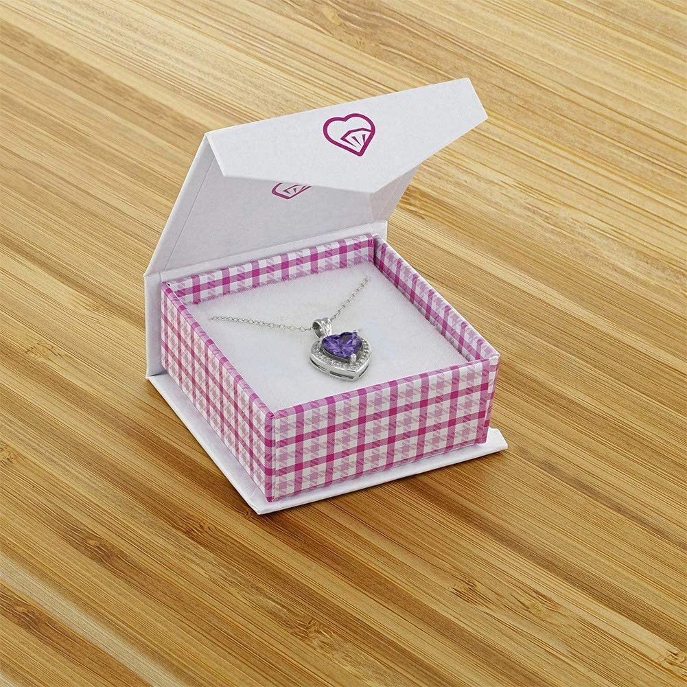 925 Sterling Silver Heart Pendant Necklace CZ Girls Kids Teens 16