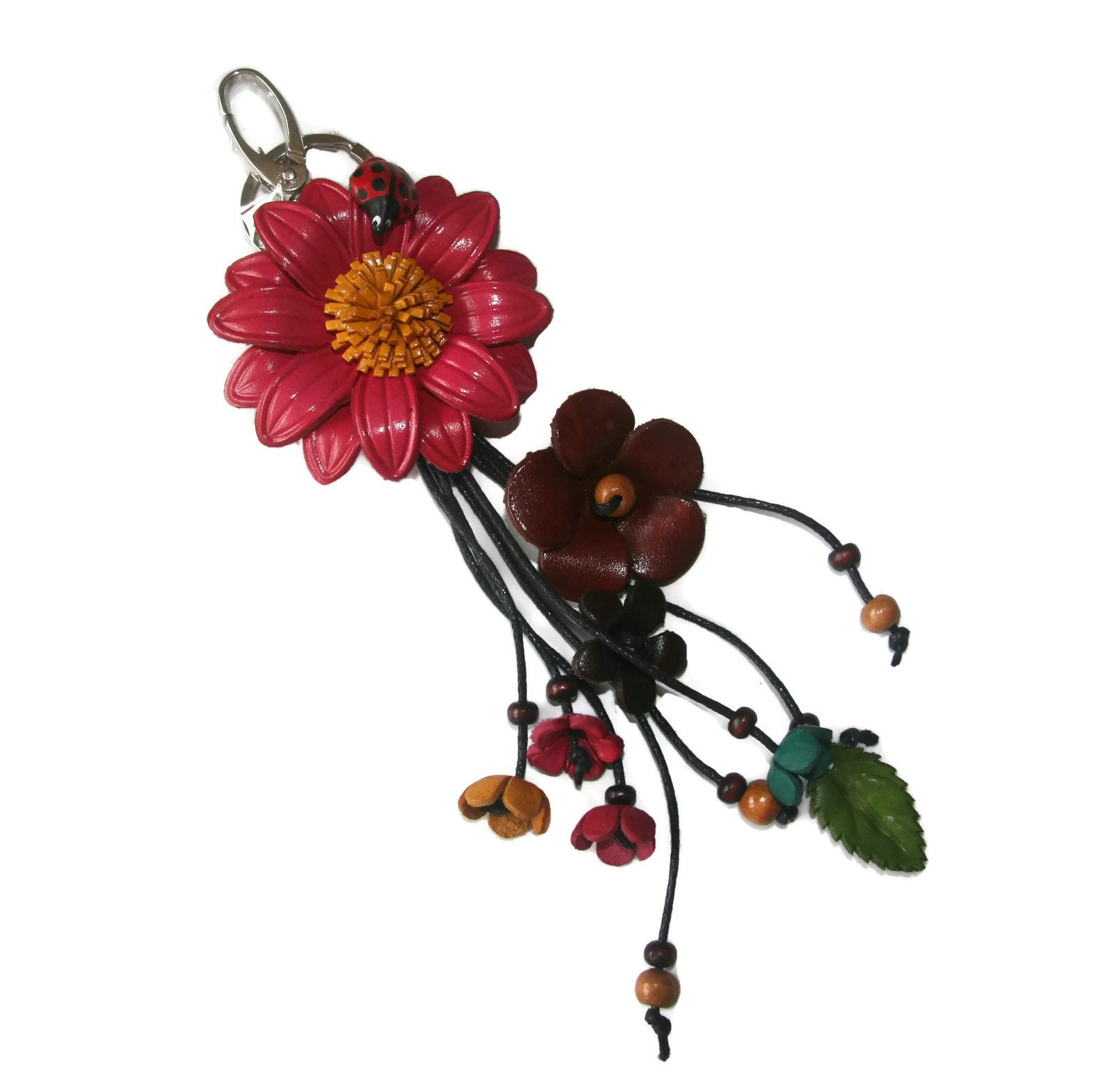 Bella Pazzo Raspberry Pink Handmade Sunflower Flower Leather Keychain Key Ring Clasp Bag Charm Handbag Purse charm Car Key Pendant
