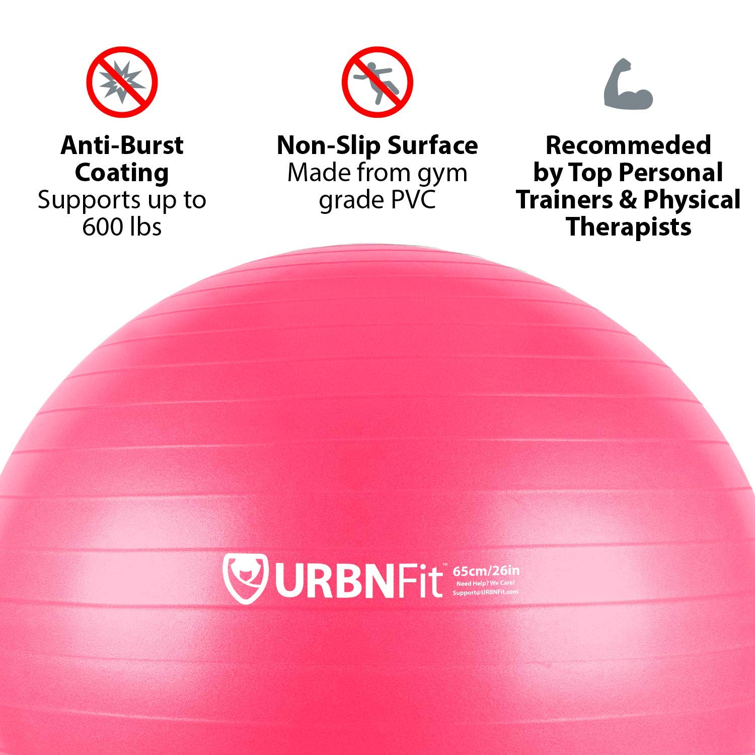 URBNFit Exercise Ball (Multiple Sizes) for Fitness, Stability, Balance & Yoga - Workout Guide & Quick Pump Included - Anit Burst Professional Quality Design (Pink, 45CM) by URBNFit (Image #3)