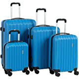 "Murtisol Travel 4 Pieces ABS Luggage Sets Hardside Spinner Lightweight Durable Spinner Suitcase 16"" 20"" 24"" 28"", 4PCS Blue"