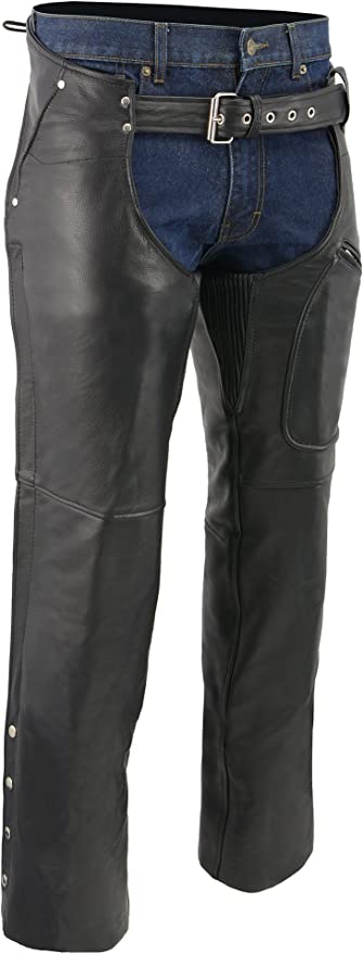 M-BOSS MOTORCYCLE APPAREL-BOS15508-BLACK-Men/'s pant style zipper pocket naked cowhide leather chaps.-BLACK-3X-LARGE