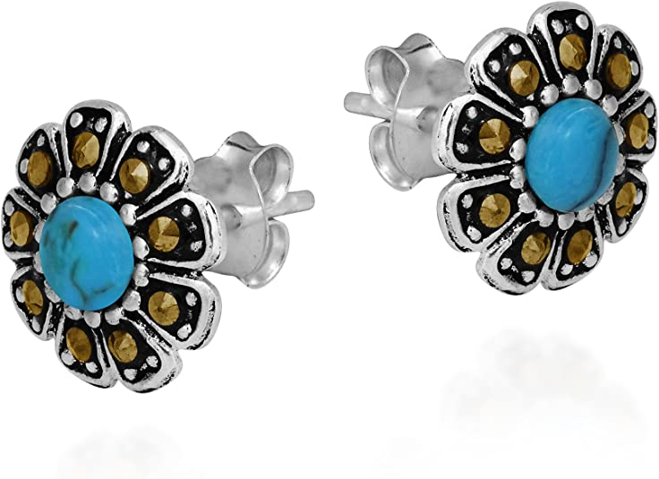 Victorian Style Turquoise  /& Marcasite Drop Earrings 925 Sterling Silver