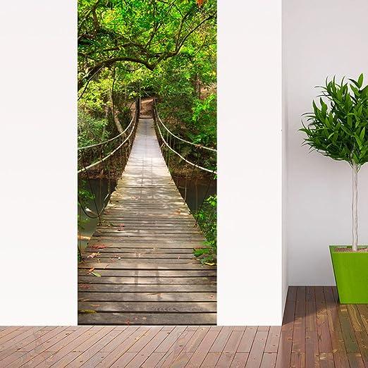 PVC Adhesivo Fotográfico Pegatina 77X200cm Vinilos Decorativos para Puerta Pared Cocina Sala de Baño (Puente colgante)