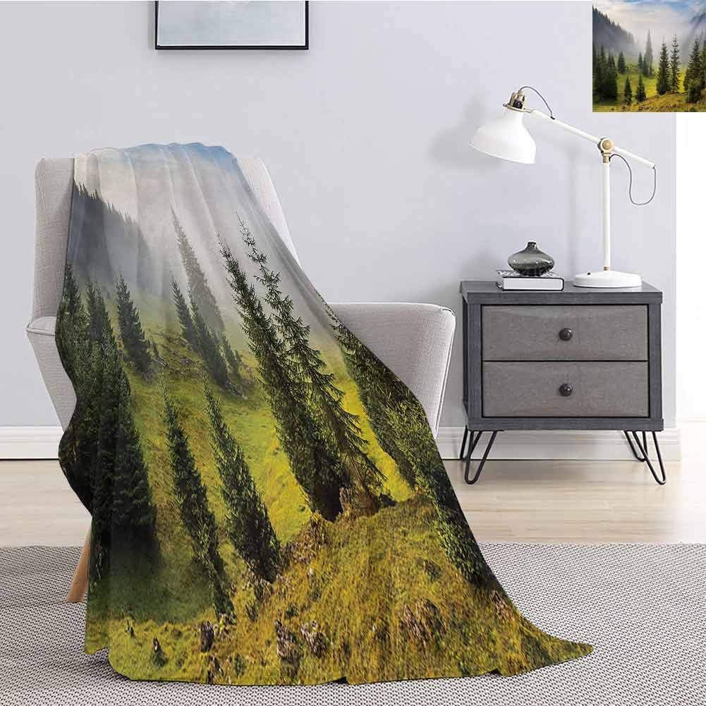 Luoiaax Forest Plush Blanket for Bed Couch Fir Trees on Meadow Between Hillsides with Conifer Forest in Fog Before Sunrise Fluffy Decorative Blanket for Couch W51 x L60 Inch White Green