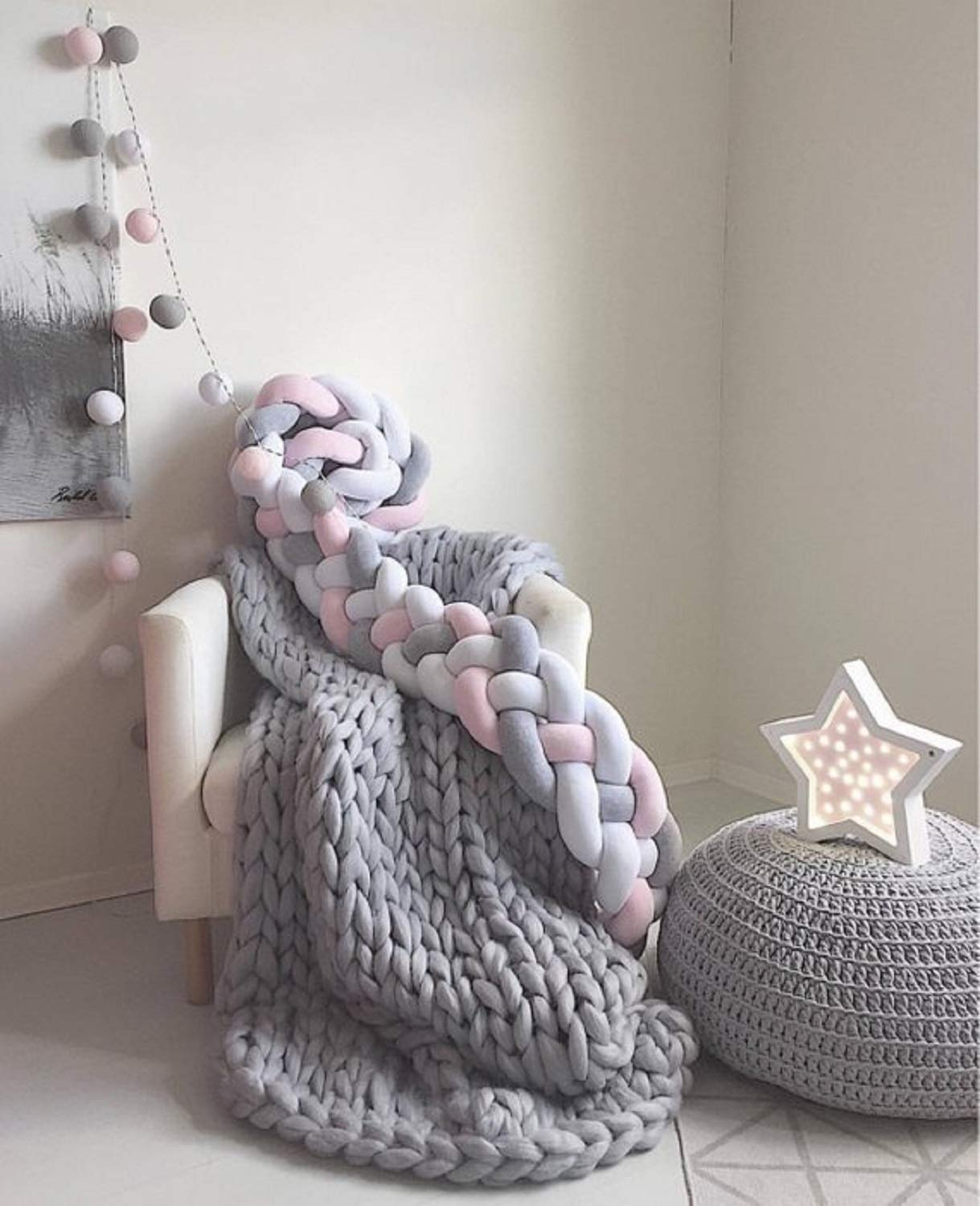 welltree Merino Soft Chunky Wool Yarn for Arm Knitted DIY Your Favorite Thick Blankets (Grey - 6.6 lbs) by welltree (Image #5)