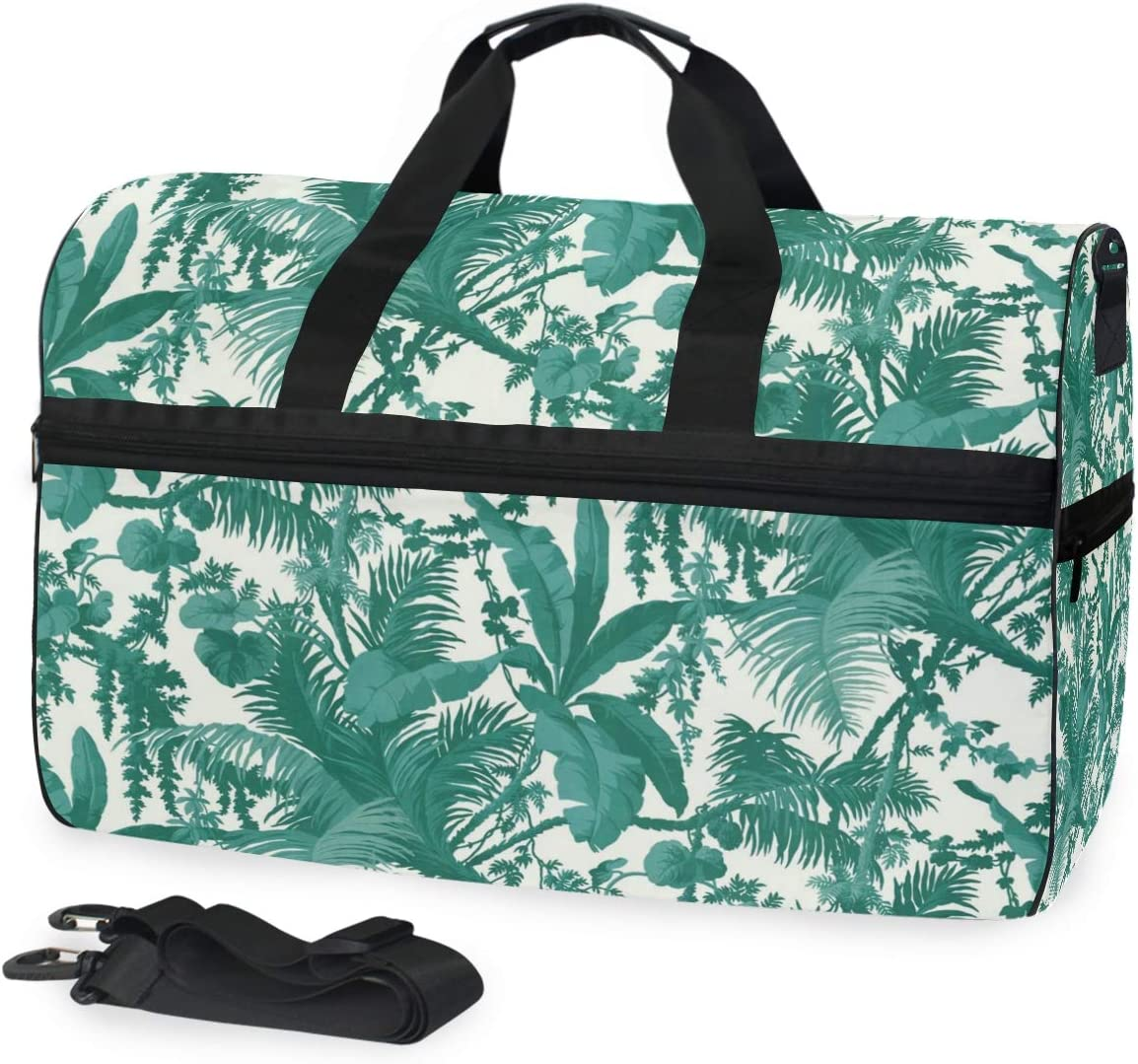 FAJRO Gym Bag Travel Duffel Express Weekender Bag Dark Green Leaves And Trees Pattern Carry On Luggage with Shoe Pouch