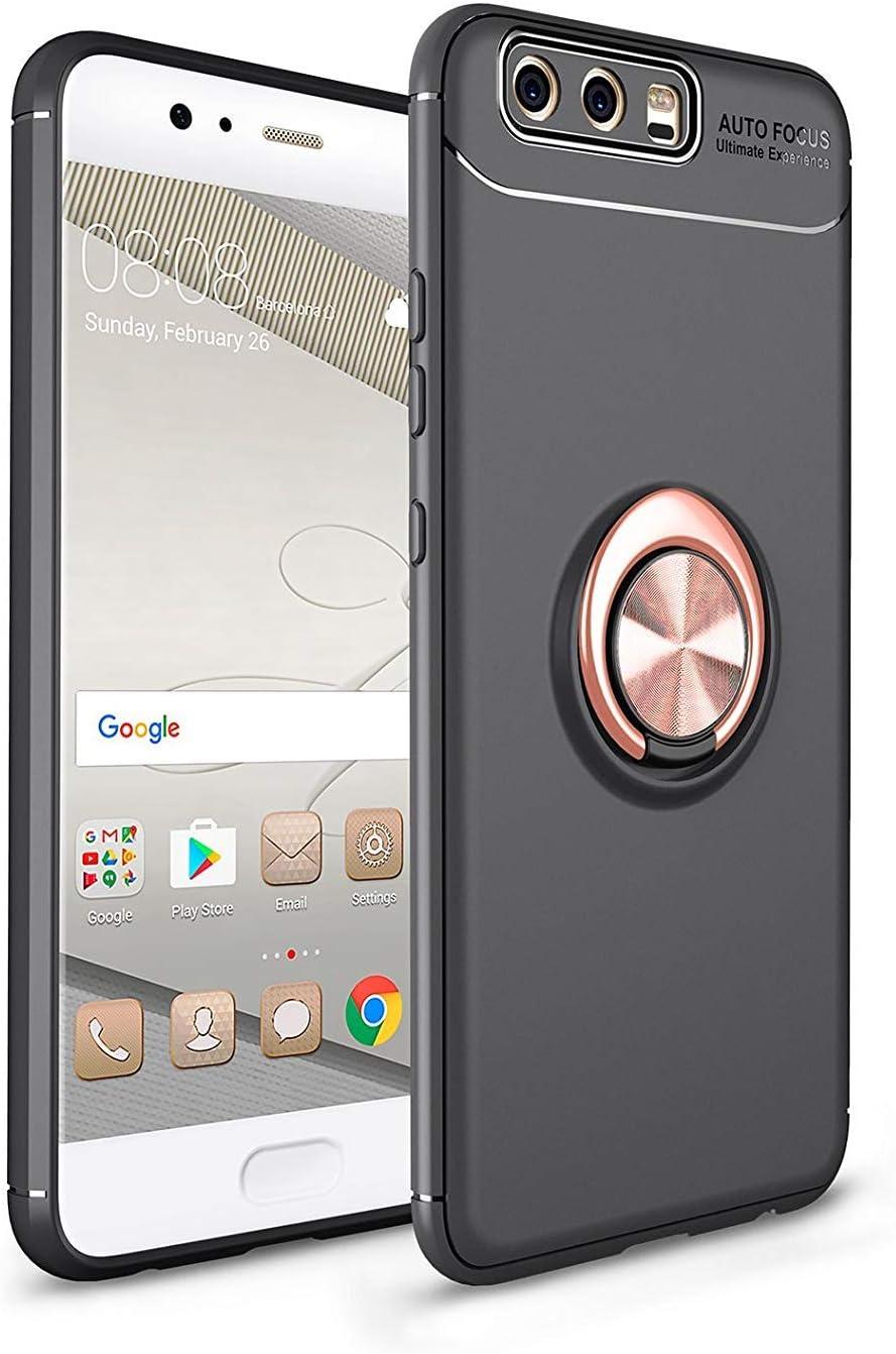 sigua Funda Compatible para Huawei P10 ,Titular del tel/éfono Case Carcasa,360 /°de Protection Case Cover Smartphone Huawei P10 Fundas.Oro /& Negro 2 /× Protector de Pantalla de Cristal Templado
